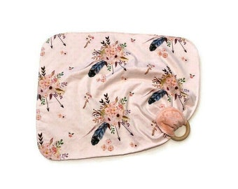 Boho Feather Baby Lovey- Small Pink Floral Lovey Blanket - flowers Newborn Receiving Blanket- Infant  Baby Girls Woodland Arrow Baby teether