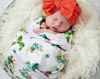 Cactus Swaddle Blanket - Green Succulent Baby Blanket - Boho Receiving Blanket Desert Baby Shower Gift Infant Newborn Swaddling Jersey Knit