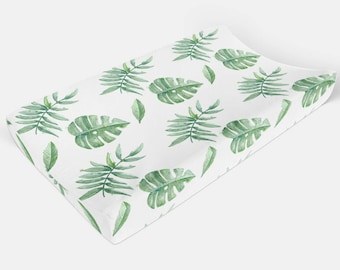 Palm Leaf Changing Pad Cover, Tropical Leaves Change Pad Cover, Slipcover, Palm Leaves, Gender Neutral Fitted Crib Sheet Set Green Nursery