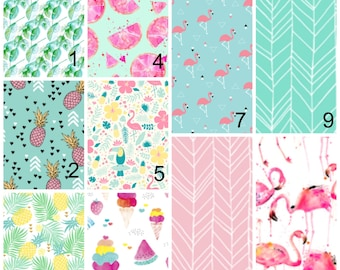 Baby Girl Nursery Sets -Tropic Flamingos Crib Sheets, Changing Pad Cover, Palm Leaves Covers - Lemon Teal Pineapple swaddle blanket Baby