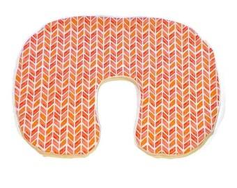 Pink Orange Nursing Pillow Cover for Girls - Girl Watercolor Breastfeeding Pillow Slipcover - Pink Arrows Girls Nursery Minky Cover - Peach