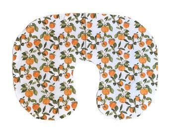 Orange Blossom Nursing Pillow Cover - Citrus fruit PillowCover - Floral Oranges Breastfeeding Slipcover - Leaves Girls Neutral Nursery Minky