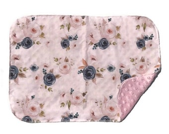 Rose Baby Lovey - Small Floral Lovie Blanket - flowers Newborn Receiving Blanket- Infant Blanket- Blanket Girls Pink Rustic Baby teether