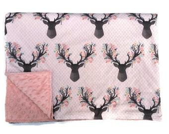 Deer Throw Blanket Buck Newborn Receiving Doe Infant Swaddle Set Crib Sheets Bedding Baby Blanket Girls Woodland Rustic Nursery Pink Floral