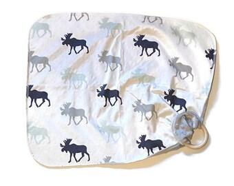 Moose Baby Lovey - Woodland Animal Lovey Blanket - Grey Newborn Receiving Blanket-Navy Mint Nursery Rustic Nursery- Wooden Baby Teether