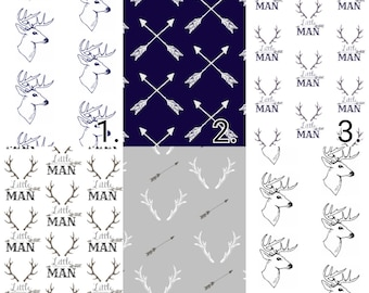 Horns & Arrows Crib Bedding -Little Man and Deer Heads Toddler Sheets - Navy Changing pad cover, Woodland crib sheet, Boys cover, crib skirt