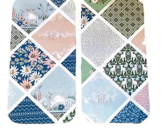 Floral Lamb Burp Cloths (Set of TWO) - Blue Flowers Baby Shower Gift Set- Pink Sheep Infant Burping Rags- Breastfeeding Feeding Newborn Gift