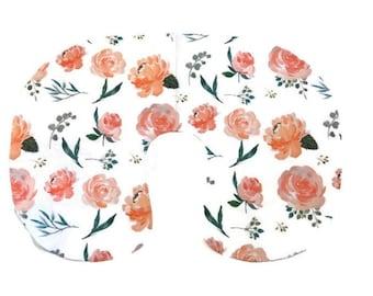 Pink Floral Nursing Pillow Cover for Girls - Peach Rose Slipcover -  Flowers Greenery Nursing Pillow Cover - Pillow Cover - Minky Greenery