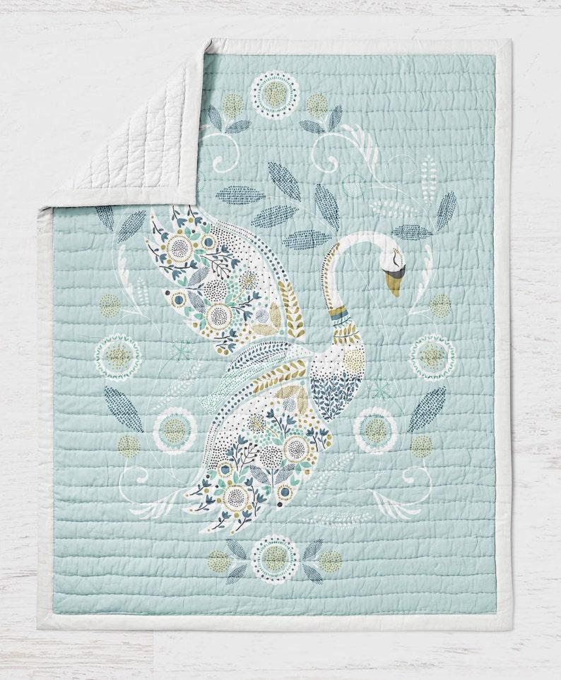 Birds Crib Quilt Swan Quilt Wholecloth Quilt- Swan Bed- Blue Boys Quilt Bedding Baby Shower Gift- Woodland Nursery Toddler Bedding