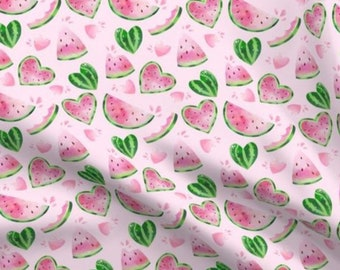 Watermelon Hearts Crib Bedding - Pink Green Summer Fruit Fitted Sheet, Watermelons Changing Pad Nursing Pillow Cover Swaddle Blanket Girls