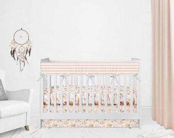 Baby Bedding Peach - Peaches Gold Dot Ruffle - Floral Baby Bedding - boho Crib Sheet Set Teething Guard - Crib Skirt - Girls Nursing Cover