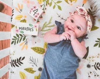 Floral Rose Fitted Crib Sheet- Girls Baby Bedding - Boho Flowers Crib set- Bohemian Garden Cot Sheet - Toddler Bedding - Nursery Decor Gift