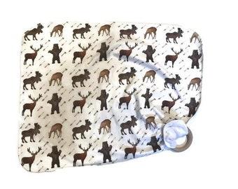 Moose Baby Lovey - Woodland Animal Lovey Blanket Newborn Receiving Blanket- Bear Deer Buck - Brown Nursery Rustic Nursery- Wooden Teether