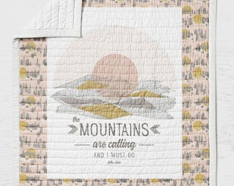 Mountains Quilt Twin Full Queen Sized Bears Bedding  Pink Gold Rustic Bed Throw Blanket Woodland Mountains are Calling I Must Go Adventure