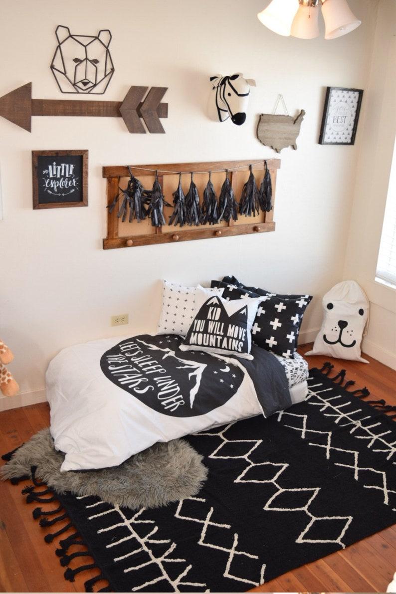 new concept 7368d 8034f Boy Toddler Bedding Sets - Sleep Under Stars Monochrome - Toddler Duvet  Cover - Kids Bedding - Pillow Case - Kids Fitted Sheets - Comforter