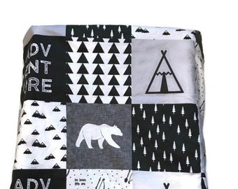 Woodland Changing Pad Cover, Modern Black and White Monochrome Diaper Change Pad Cover, Bear Minky Changing Pad Cover, Tepee Mountain Arrow