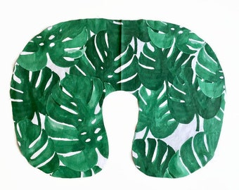 Palm Leaves Nursing Pillow Cover - Monstera Leaf Tropical Baby Slipcover - Green foliage Gender Neutral Infant Slipcover - Baby Shower Gift