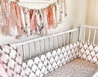 Girls Fawn Crib Bedding - Floral Deer Crib Sheets Changing Pad Cover, Buck Crib Skirt - Woodland Nursery Bed- Toddler blanket, Change Pad