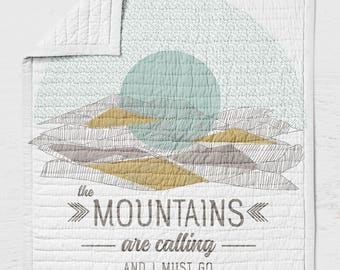 Mountains are Calling Baby Quilt - Adventure Awaits Crib Quilt - Toddler Bedding - Rustic Baby Shower - Woodland Nursery - Wholecloth Quilt