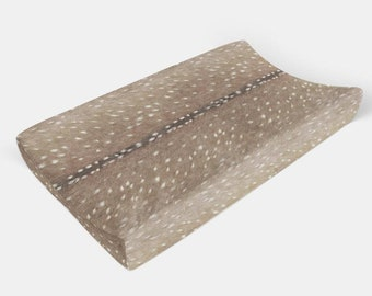 Woodland Changing Pad Cover - Axis Deer Skin - Changing Pad, Change Pad Cover, Minky Changing Pad Cover, Contoured Changing Pad Covers Gift