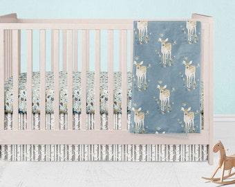 Woodland Nursery Set- Deer Fitted Crib Sheet- Fawn Blanket- Birch Crib Skirt- Leaves Rail Guard Cover- Crib Changing Pad Cover Boy