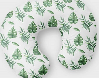 Palm Leaves Nursing Pillow Cover - Leaf Tropical Baby Slipcover - Green foliage Gender Neutral Infant Slipcover - Fern Nursing Pillow Gift