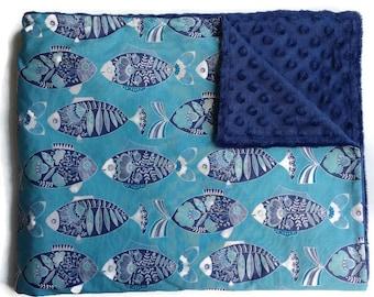 Fish Throw Blanket Ocean Newborn Receiving Sea Infant Swaddle Crib Sheet Bedding Set Nautical Nursery Baby Blanket Blue Boy- Gender Neutral