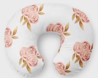 Rose Gold Nursing Pillow Cover - Floral Glitz Pillow Slipcover, Breastfeeding Pillow Cover, Soft Minky Cover Flowers Girls Baby Shower Gift