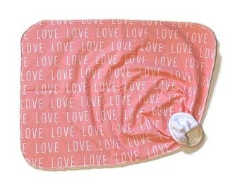 Pink Love Baby Lovey - Girls  Lovie Blanket - Modern Newborn Receiving Blanket- Infant Blanket Girls Pink Baby teether - Baby shower gift