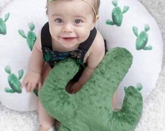 Cactus Nursing Pillow Cover - Cacti Cover for Boys -Green Succulent Slipcover - Desert Nursery Bedding - Breast Pillow Cover - Minky nursing