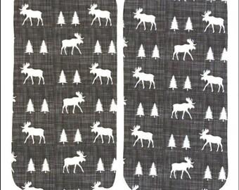 Grey Moose Burp Cloths (Set of TWO) - Gray Pine Tree Baby Shower Gift Set- Woodland Infant Burping Rags- Breastfeeding Feeding Newborn Gift