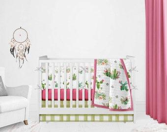 Crib Bedding Set - Cactus Skull Change Pad- Girl Floral Crib Sheet- Tepee Girl Crib Rose- Desert Cacti Nursery Girl Crib rail covers