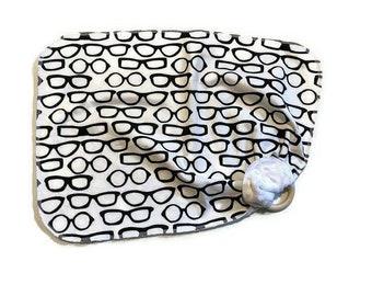 Glasses Lovey - Optometrist Lovie Blanket Newborn Receiving Blanket- Infant - Geeky Nursery- Wooden Teether - Geek Nerdy Baby Shower Gift