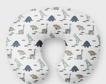 Dino Nursing Pillow Cover - Breastfeeding Cover for Boys - Dinosaur -T-Rex Green Slipcover - Nursery Bedding - Minky Baby Shower Blue