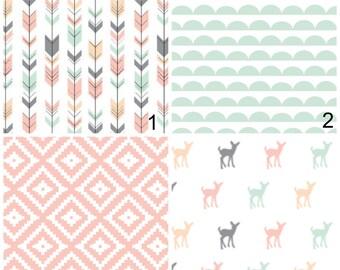 Crib Bedding Sets - Fawn Deer Woodland Animals, Arrows Pink Geo Shapes - Modern Nursery Toddler Bedding - mint, Blue, Fletching Arrows Decor