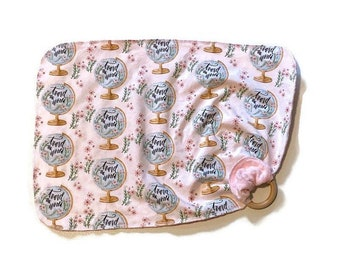 Travel the World Lovey - Globe Map Lovie Blanket Newborn Receiving Blanket- Pink Infant Nursery- Wooden Teether - Travel Baby Shower Gift