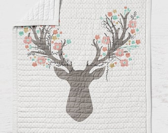Deer Baby Quilt - Fawn Crib Quilt - Toddler Bedding- Infant Rustic Baby Shower Gift- Woodland Nursery Girlie- Pink Grey Wholecloth Quilt