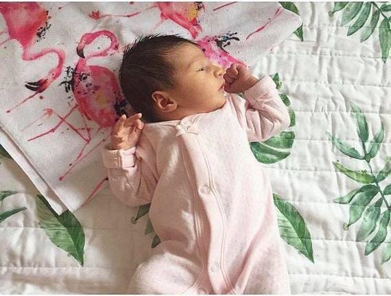 L'aquarelle verte Palm Leaves Quilt - Baby Blanket - Tropical Green - boho Baby Blanket - Toddler Quilt - quilt vert et blanc moderne