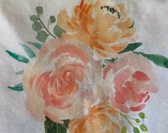 """59"""" wide piece canvas fabric - peachy floral flowers - spoonflower Cotton twill fabric prewashed"""