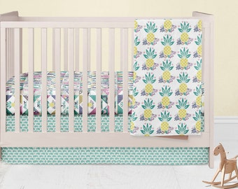 Tropical Nursery Set- Toucan Fitted Crib Sheet- Pineapple Blanket- Floral Crib Skirt- Pink Rail Guard Cover- Crib Bumper- Changing Pad Cover