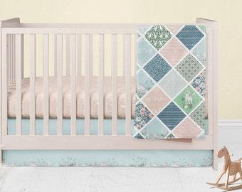 Lamb Crib Bedding- Lamb Crib Skirt - Bunny Fitted Crib Sheet - Floral Baby Blanket- Mint Rail Guard Covers - Pink Crib Spring Bed