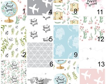 Travel Nursery Baby Bedding - Baby Fitted Crib Sheet - Baby Crib Sheet - Adventure Nursery - Travel Bedding - Baby Bedding Travel Nursery