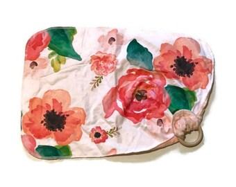 Red Poppy Baby Lovey - Small Floral Lovie Blanket - flowers Newborn Receiving Blanket- Infant Blanket Girls Pink Rustic Baby Leaves teether