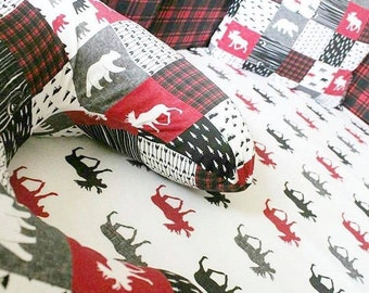 Woodland Baby Bedding - Arrows fitted crib sheet, moose changing pad cover, bear crib skirt, red black plaid Nursing Pillow cover rustic