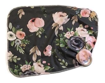 Dark Floral Baby Lovey- Small Pink Rose Lovey Blanket - flowers Newborn Receiving Blanket- Infant  Baby Girls Woodland Rustic Baby teether