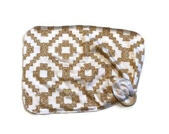 Gold Sparkle Baby Lovey - Girls Lovie Blanket - Modern Newborn Receiving Blanket- Infant Blanket Girls Shine Baby teether - Baby shower gift
