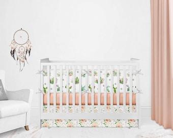 Crib Bedding Set - Cactus Skull Change Pad- Girl Floral Fitted Crib Sheet- Tepee Girl Rose Swaddle - Desert Cacti Nursery Girl Boho Quilt