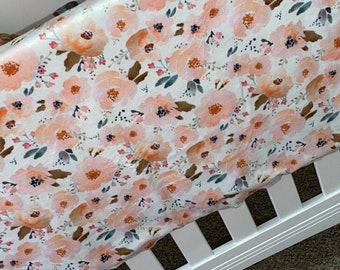 Peach Floral Minky Blanket - Pink Flower Minky Newborn Receiving Blanket- Infant Swaddle Blanket- Crib Bedding Girls Nursery Minky Blanket