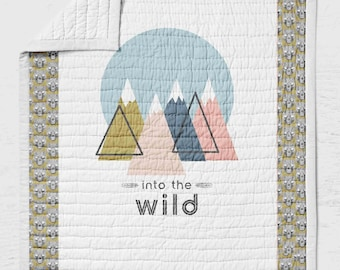 Into the Wild Twin, Full or Queen  Size Quilt Bears Mountain Toddler Bedding Rustic Bedroom Decor Woodland Adventure Awaits- Pink Gold Wild