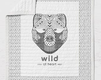 Bear Twin Full Queen Size Quilt Wild at Heart Bears Toddler Bedding Rustic Bedroom Decor Modern  Woodland Black White Tribal Throw Blanket